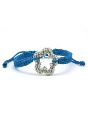 Pulsera Trenzada Azul + Motivo Flor Plata Y Simil