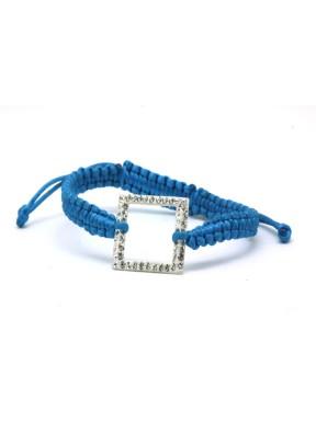 Pulseras Trenzada Azul + Motivo Cuadrado Plata Y Simil