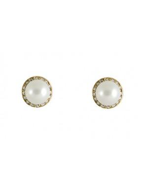 Pendientes perla dorados con strass