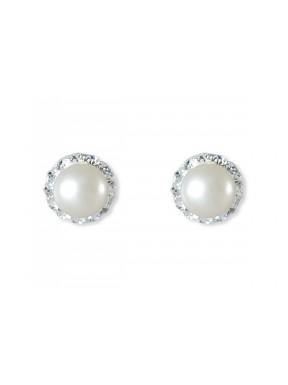 Pendientes plata con perla y strass
