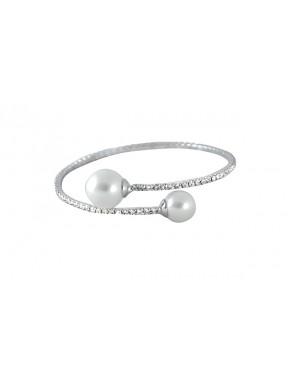 Pulsera rígida con perlas y strass