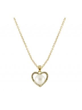 Collar dorado con colgante corazón perla y pedreria