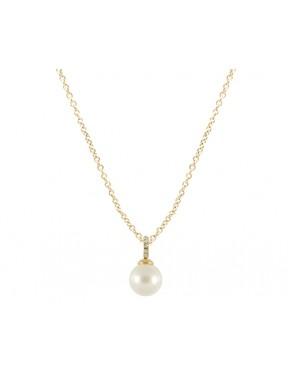 Collar dorado con colgante perla