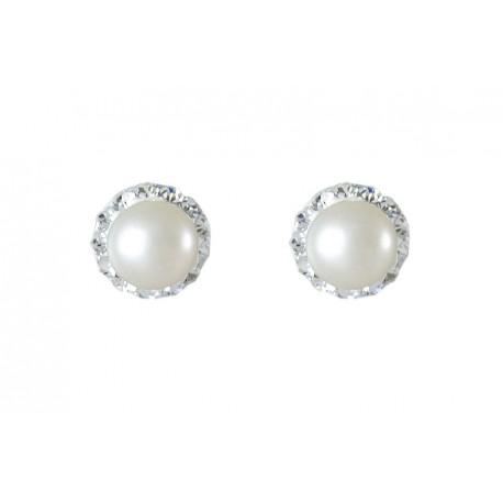 Pendientes plata y perla 8mm. y strass