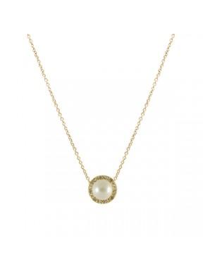 Cadena dorada Y Colgante Perla