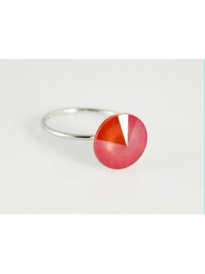 Anillo Plata Rodiada + Swarovski Naranja