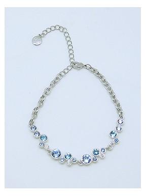 Pulsera Rodio + Swarovski Cristal Azul