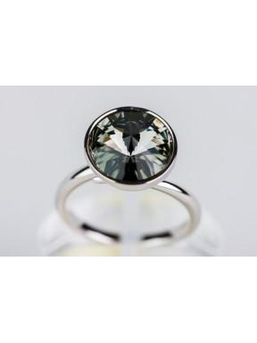 Anillo Rodio + Swarovski Black Diamond