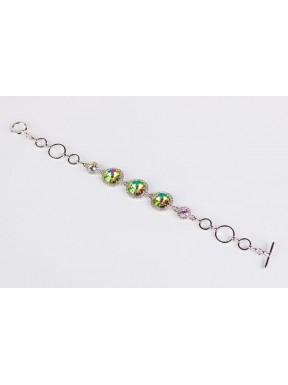 Pulsera Rodio + Swarovski Cristal Luminus Green