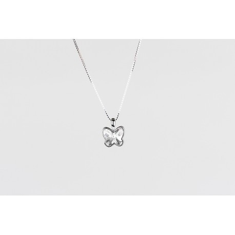 Cadena Plata + Colgante Swarovski Mariposa Cristal