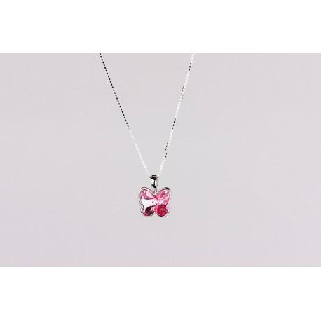 8078cd48db9b Cadena Plata + Colgante Swarovski Mariposa Cristal Rosa - Mic Mac  Creaciones sl