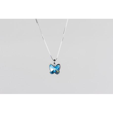16c52cd83f18 Cadena Plata + Colgante Swarovski Mariposa Cristal Celeste - Mic Mac  Creaciones sl