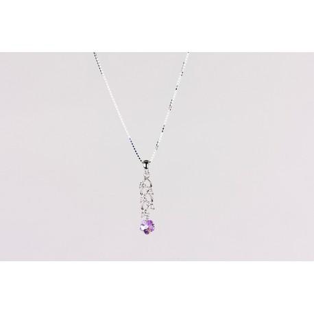 Cadena Plata + colgante Swarovski Cristal Violeta