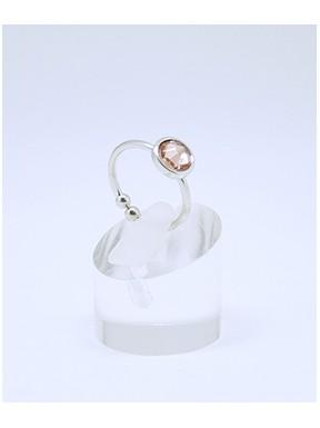 Anillo Rodio + Swarovski Cristal Rosa