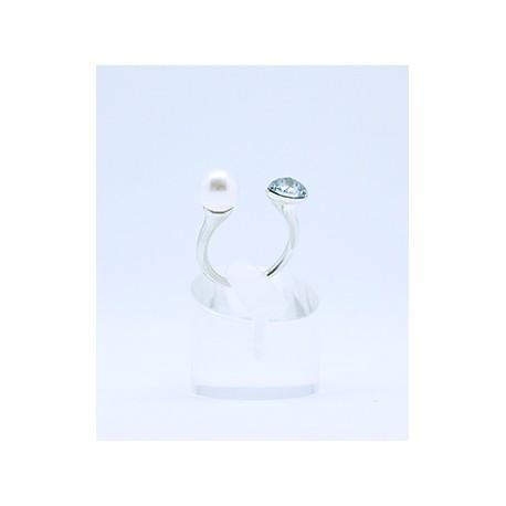 Anillo Plata Rodiada + Swarovski Cristal Blue Shade