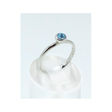 Anillo Rodio + Swarovski Cristal Azul