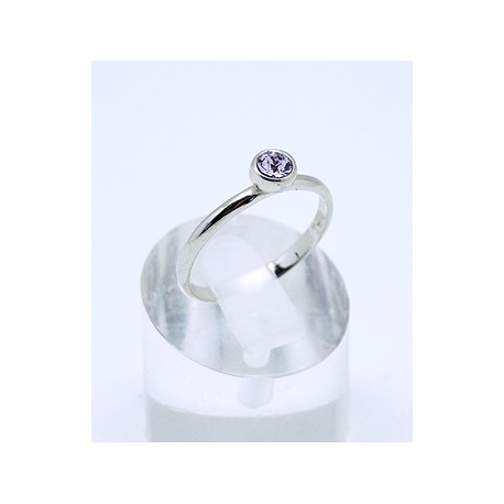 Anillo Rodio + Swarovski Cristal Violeta