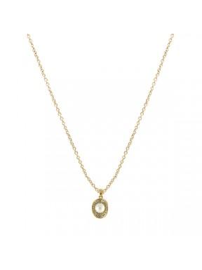 Collar dorado con colgante perla y pedreria