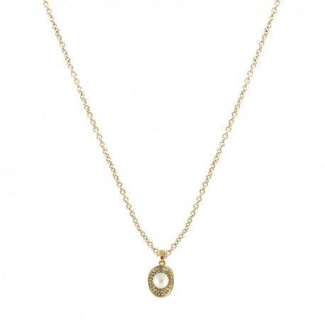 e2f00243ad15 Collar dorado con colgante perla y pedreria - Mic Mac Creaciones sl