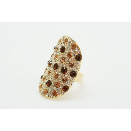 Anillo Multi-Talla Dorado + Cristal Gold