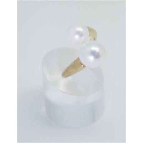 Anillo Multi-Talla Dorado + Perlas