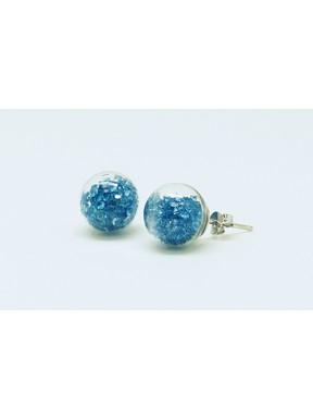 Pendiente Palo Plata + Swarovski Cristal Azul