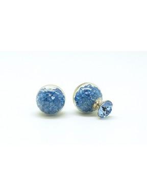 Pendiente Doble Lado, Palo Plata + Swarovski Cristal Azul