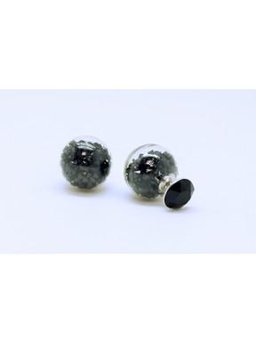 Pendiente Doble Lado, Palo Plata + Swarovski Cristal Negro