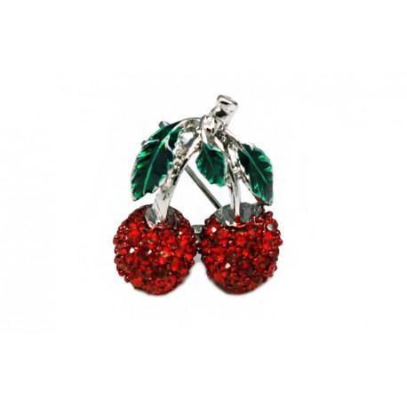 Broche Cerezas + Simil Rojo