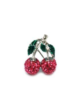 Broche Cerezas + Simil Rosa