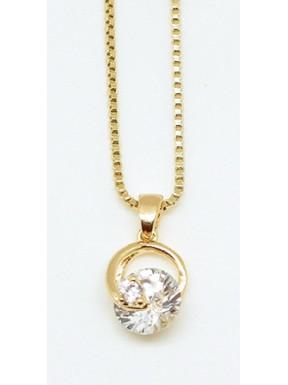 Gargantilla Chapada Oro + Colgante Circonita