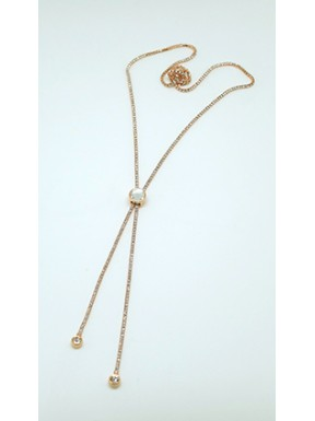 Collar Simil Gold Rose Con Centro Redondo Corredero