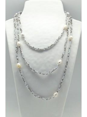 Collar Tupi 140 Cm. Gris + Perlas
