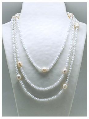 Collar Tupi 140 Cm. Blanco + Perlas