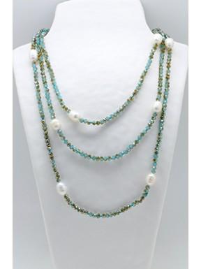 Collar Tupi 140 Cm. Turquesa + Perlas