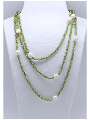 Collar Tupi 140 Cm. Verde + Perlas