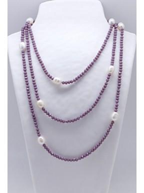 Collar Tupi 140 Cm. Lila + Perlas