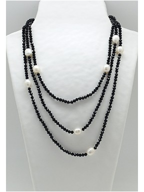 Collar Tupi 140 Cm. Negro + Perlas