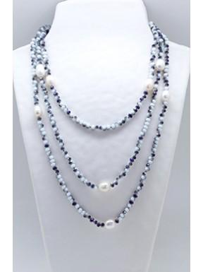 Collar Tupi 140 Cm. Aurora Boreal + Perlas