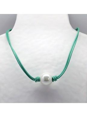 Collar Cordon Verde + Centro Perla