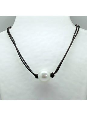 Collar Cordon Marrón + Centro Perla
