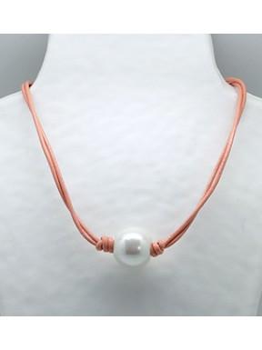 Collar Cordon Rosa + Centro Perla
