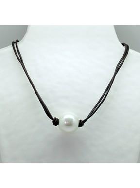 Collar Cordon Negro + Centro Perla