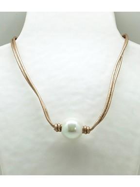 Collar Cordon Ocre + Centro Perla
