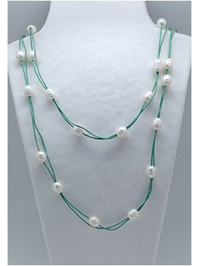 Collar Cordon Blanco 60 Cm. + Centro Perla