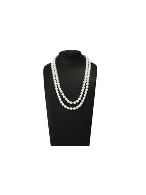 Collar Doble Perlas Blancas 36Cm. y 40Cm.
