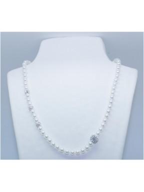 Collar Perla Blanca 5mm. + 3 simil 8mm. +1 simil