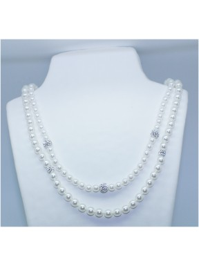 Collar Perla Blanca Doble 42cm y 46cm +3 simil 8mm.