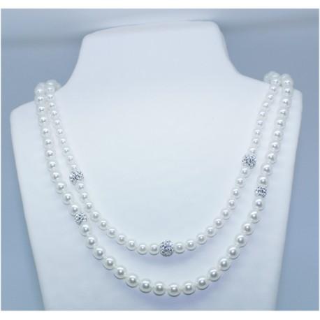 Collar Perla Blanca Doble 42cm y 46cm +3 simil 8mm.