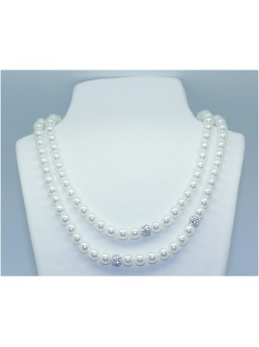 Collar Perla Doble Via 8mm Blanco (44Cm+46Cm) + 3 bolas simil